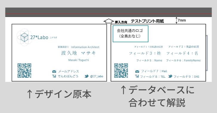 デザインの原本(左)とデータベースに合わせて解説したもの(右)